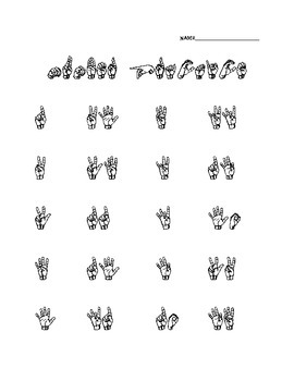 ASL Number Practice Worksheet