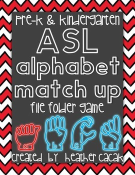 ASL Sign Language Alphabet Match Up File Folder Game