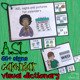 ASL (Sign Language) Visual Calendar Time Flashcard Dictionary