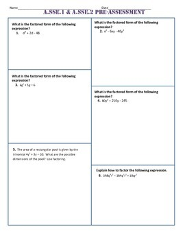 A.SSE.1 and 2 Pre AND Post Assessment/Test Algebra 1 Common Core