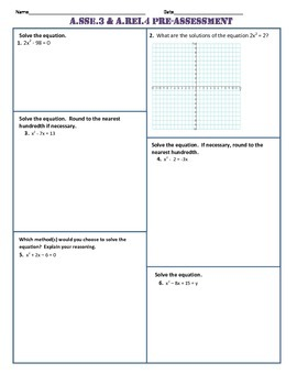 A.SSE.3 and A.REI.4 Pre AND Post Assessment/Test Algebra 1