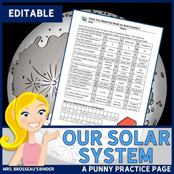 ASTRONOMY: Our Solar System: A Punny Practice Page - EDITABLE!