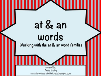 AT and AN Word Study Sort and Activities