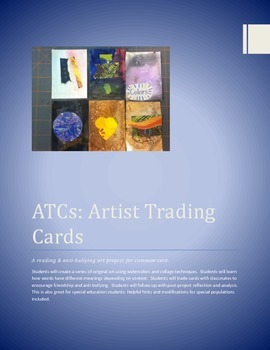ATCs: Artist Trading Cards: Common Core Reading & Antibullying