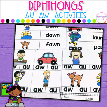AU AW- Diphthongs Activities and Printables