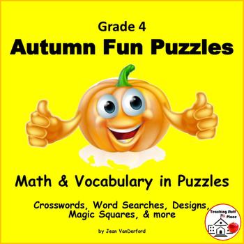 AUTUMN | FUN PUZZLES | Math & Vocabulary CORE | FALL Gr.4
