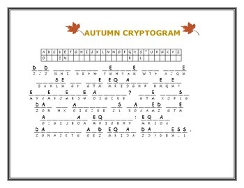 AUTUMN CRYPTOGRAM: GRADES 8-12 & GIFTED STUDENTS