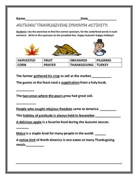 AUTUMN/ THANKSGIVING SYNONYM ACTIVITY GRADES 2-4