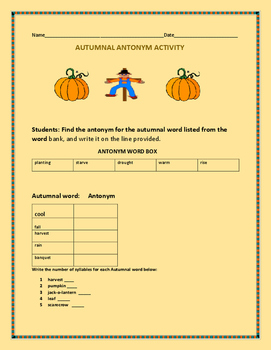 AUTUMNAL WORD ACTIVITY