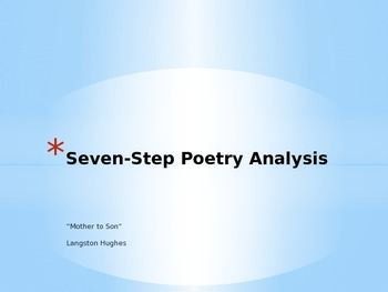 """AVID Seven Step Poetry Analysis using """"Mother to Son"""""""