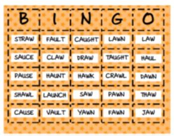 AW & AU Ambiguous Vowel BINGO