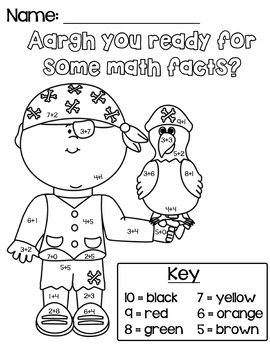 Aargh You Ready For Math Facts Coloring Worksheet
