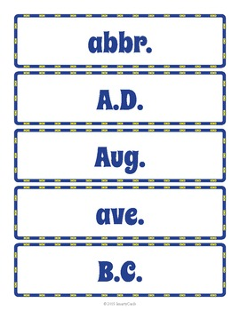 Abbreviations Word Wall and Handout