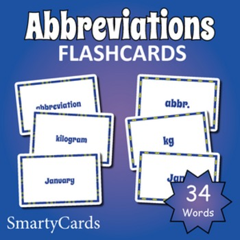 Abbreviations Flashcards for Games and Activities