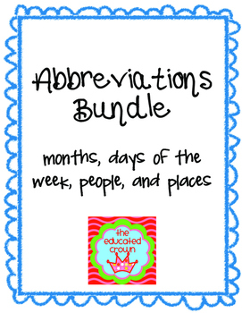 Abbreviations Bundle!!! worksheets, matching games, task cards, test by Vanessa Crown