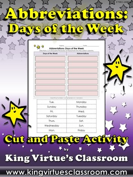 Abbreviations: Days of the Week Cut and Paste Activity - K