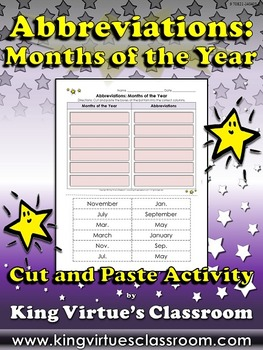 Abbreviations: Months of the Year Cut and Paste Activity #