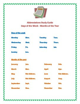 Abbreviations for the days of the week and months of the y