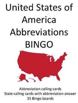 Abbreviations of the United States of America BINGO!