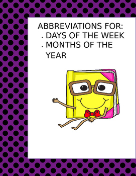 Abbreviations questions for the days of the week and month