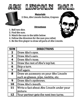 Abe Lincoln Roll - A February Math & Art Activity to Pract