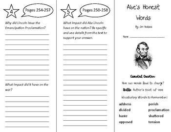Abe's Honest Words Trifold - Wonders 4th Grade Unit 3 Week 4