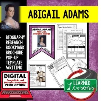 Abigail Adams Biography Research, Bookmark Brochure, Pop-U