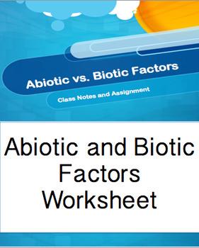 Abiotic and Biotic Factors PPT Worksheet