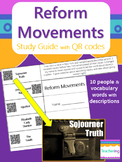 Abolition & Suffrage Reform Movements Study Guide with QR Codes