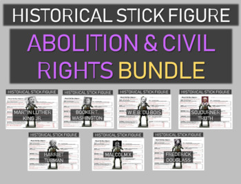 Abolition and Civil Rights Stick Figures BUNDLE (7 leaders