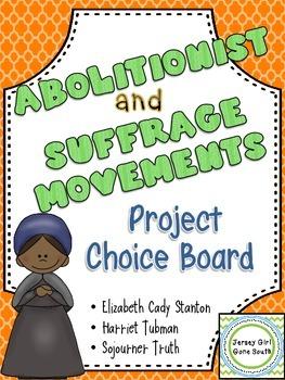 Abolitionist & Suffrage Choice Board Harriet Tubman, Sojou