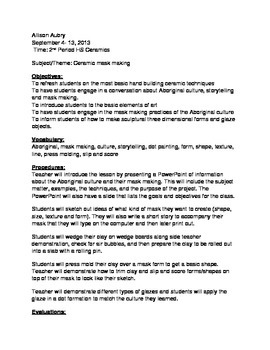 Aboriginal Mark Ceramic Project - High School Lesson Plan