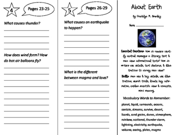 About Earth Trifold - ReadyGen 2016 3rd Grade Unit 1 Module B