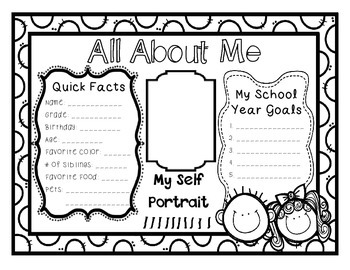 """""""About Me"""" Back to School Activity"""
