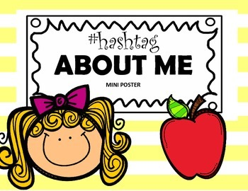 About Me Graphic Organizer Hashtag Themed Mini Poster (Bac