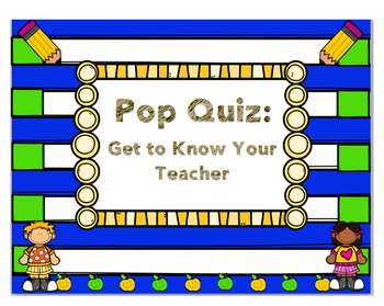 About Me Quiz- Beginning of The Year- Meet the teacher/student