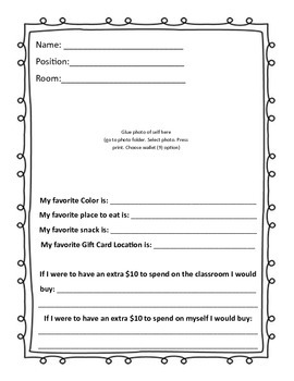 About Me Teacher Page for gifts