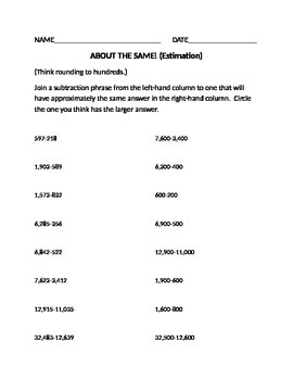 """About the Same"" Estimation worksheet"