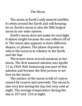 About the moon passage and reader