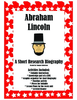 Abraham Lincoln A Mini Research Biography Lap book