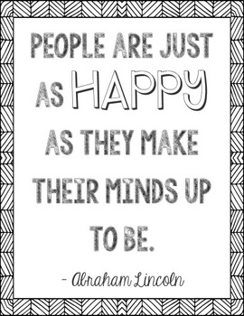 Abraham Lincoln Happiness Quote Poster