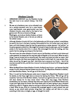 Abraham Lincoln - Informational Text Test Prep