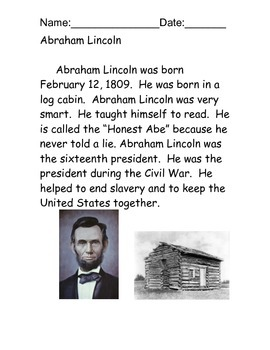 Abraham Lincoln Reading Comprehension Packet