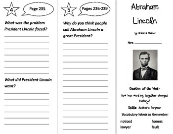 Abraham Lincoln Trifold - Reading Street 2nd Grade Unit 2 Week 2