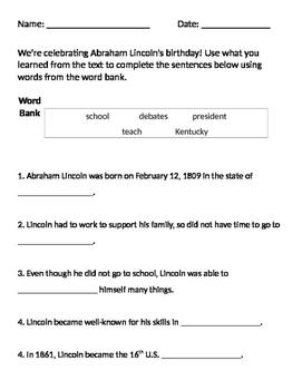 Abraham Lincoln Worksheet - Presidents' Day