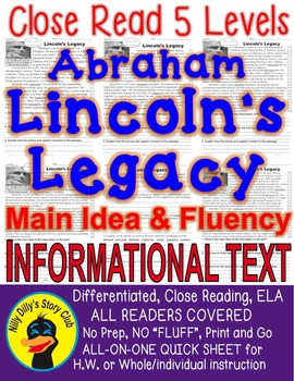 Abraham Lincoln's Legacy FACTS Close Read 5 levels ALL-REA