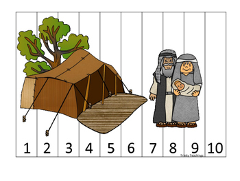 Abraham and Sarah 1-10 Sequence Puzzle printable game. Pre
