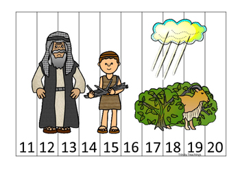 Abraham and Sarah 11-20 Sequence Puzzle printable game. Pr