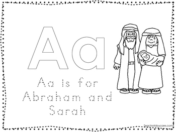 Abraham and Sarah Color and Trace Worksheet. Preschool-Kin