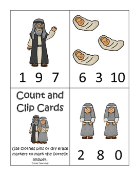 Abraham and Sarah Count and Clip printable game. Preschool